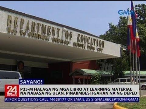 [GMA]  P25-M halaga ng mga libro at learning material na nabasa ng ulan, pinaiimbestigahan na ng DepEd