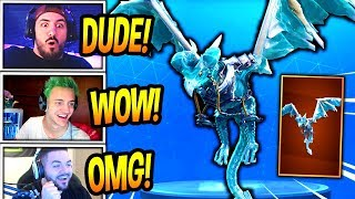 """STREAMERS REACT TO *NEW* DRAGON GLIDER! """"FROSTWING"""" *LEGENDARY* Fortnite FUNNY & SAVAGE Moments"""