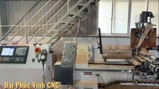Tiện cnc cấp phôi tự động WM-1500ASL | Máy tiện trụ cầu thang, chân ghế tròn, song cửa ...