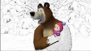 Маша Медведь раскраска!