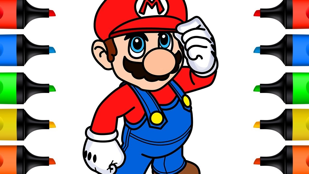 How to Draw Super Mario Bros Coloring Pages for Kids Drawing and Coloring for Baby Learn Colors