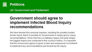 Petition : Government should agree to implement Blood Inquiry findings