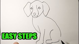 How to draw a dog sitting down (easy to follow)