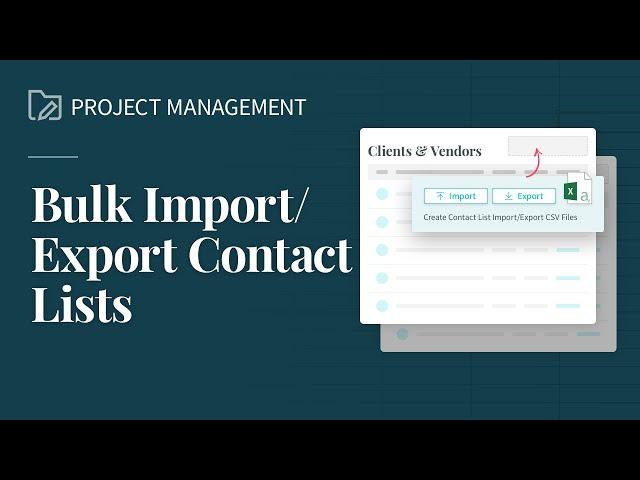 Import/Export Client & Vendor Lists