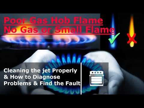 No gas or small flame on Gas hob cooker  How to clean the jet