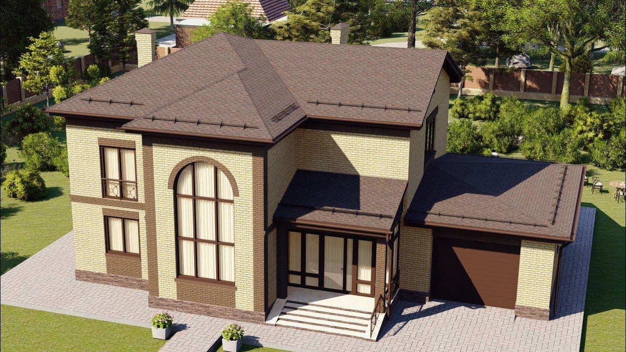 Проект большого загородного дома с гаражом 200 кв.м