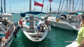 Sailboat mooring in the port of Pythagorion - Samos island, Greece (HD 1080p)