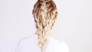 Смотреть онлайн красивая прическа из трех французских кос