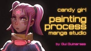 Candy girl - painting manga studio - painting process - By Gui Guimaraes (moonlightorange)