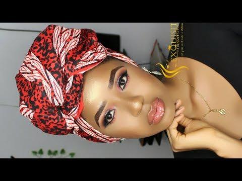 How To Ankara Tie Headscarf And Makeup Tutorial /Akara Inspired Makeup Tutorial / Turban