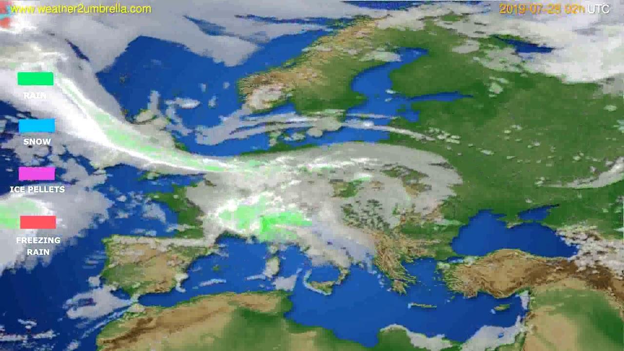 Precipitation forecast Europe // modelrun: 00h UTC 2019-07-26