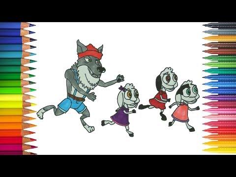 Serigala Dan Tujuh Anak Domba Berlari Menggambar Dan Mewarnai
