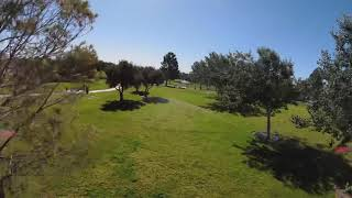 DJI FPV Motion Controller dodging trees, sprinklers, light polls, and people.