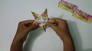 Cách gấp ngôi sao 5 cánh bằng các tờ vé số cũ