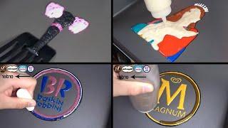 Pancake Art - Black Pink Logo, Light stick, Jennie, Lisa,Ice cream logo Baskin Robbins, Häagen-Dazss