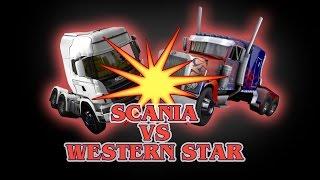 ETS 2 - Scania (Galvatron) VS Western Star (Optimus Prime) - TRANSFORMERS - Peterbilt 389