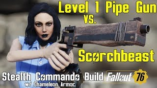 Fallout 76: Killing Scorchbeasts with Level 1 Pipe Rifle - Stealth Commando Build