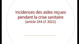 Replay Réunion actualité mai 2021 – Incidences des aides reçues pendant la crise sanitaire