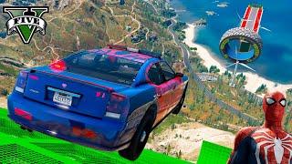 SUPER CARS HOT WHEELS & SpiderMan and other Superheroes GTA V MODS Сhallenge! Двойная Супер Рампа !