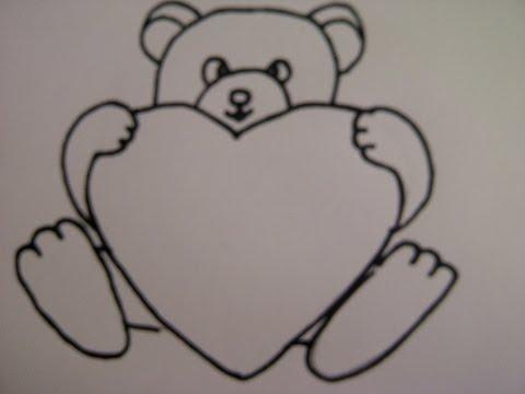 Teddybär mit Herz zeichnen. Zeichnen + Basteln zum Muttertag