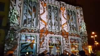Световое лазерное 3D шоу на стенах Елисеевского гастронома магазина Санкт-Петербург 8 марта 2017