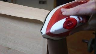 Ironing wood veneer on curves