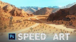 Low Poly Desert Landscape - Photoshop Speed Art