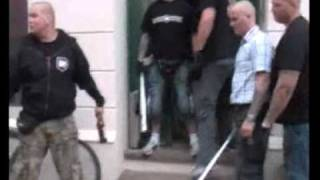 ugly fat skinhead freaks out