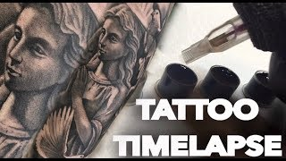 TATTOO TIMELAPSE | REAL TIME | ANGEL AND DOVES | CHRISSY LEE