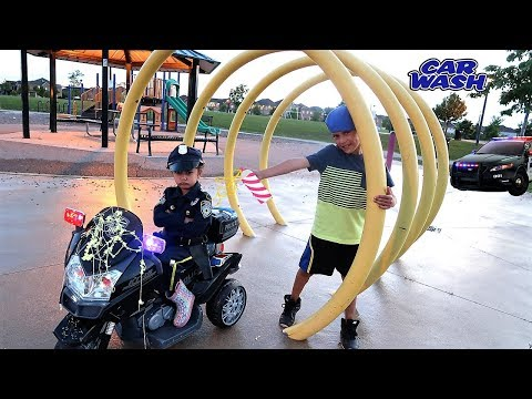 Police Chase Kids driving power wheels ride on car - family fun pretend play