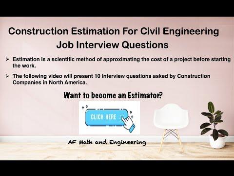Construction Estimator - Job Interview Questions - YouTube