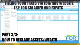 Filing Taxes via FBR/IRIS website 3/3 - Declaring assets form116