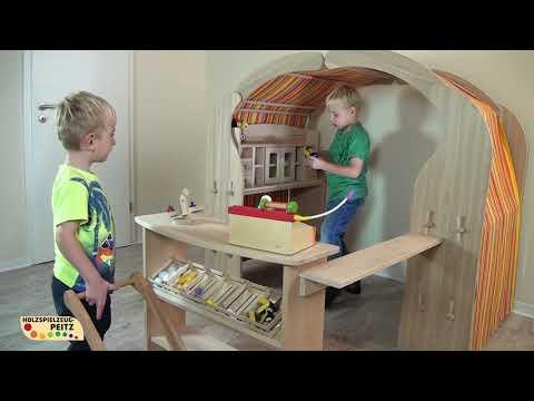 Spielhaus Spielständer Spielmöglichkeiten Bücherregal, Küche, Kaufmannsladen, Kasperletheater