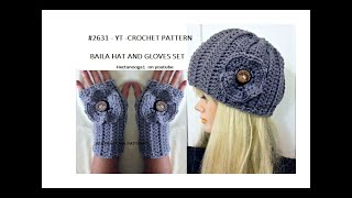 CROCHET HAT, FLOWER, AND TEXTING GLOVES or mittens SET, Easy crochet pattern # 2631