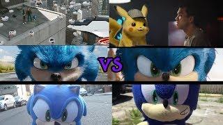 New Sonic Movie vs Detective Pikachu vs Old Sonic Movie vs New Sonic Movie vs Both Sonic Plush Movie