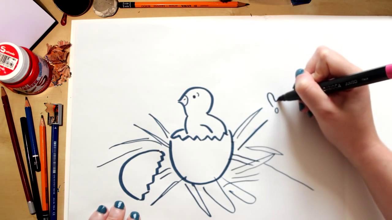 Como desenhar um Pintinho - desenhos para crianças
