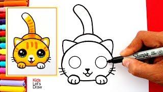 Aprende A Dibujar Un GATO KAWAII Fácil   How To Draw A Cute Kitten Easy