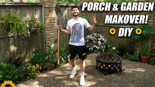 DIY FRONT PORCH/PATIO MAKEOVER! GARDEN & DECORATING IDEAS! Tutorial!