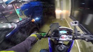 motorcycles in automatic car wash omg