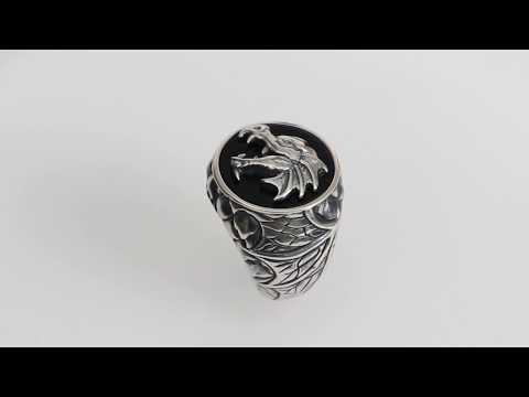 REBELIGION Ture Silver - Herren Drachen Siegel Silber Ring - Männerschmuck