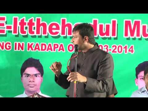 Akbaruddin Owaisi Speech In Kadapa 22 03 2014 Part 1