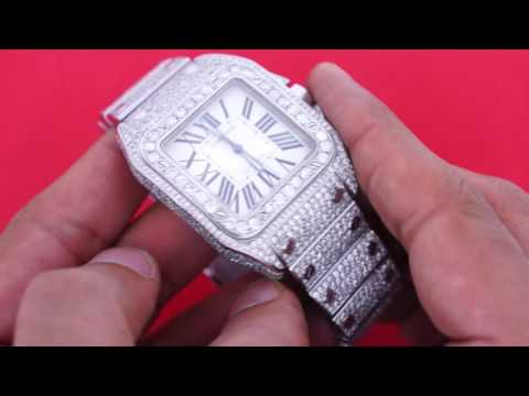 7088048194d Mens Custom Cartier Santos 100 XL Watch with 22 Ct Diamonds Iced Out VIDEO  DEAL - YouTube