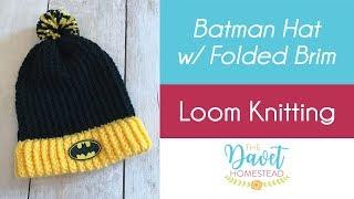 Loom Knit Batman hat with folded brim and Pom Pom