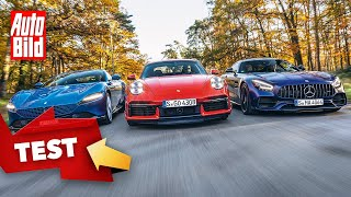 Porsche 911 Turbo vs. Ferrari Roma & Mercedes-AMG GT C (2021) | Der Test mit Christoph Richter by Auto Bild