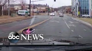Toddler falls out of moving vehicle while strapped into car seat