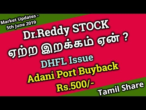 Dr.Reddy STOCK ஏற்ற இறக்கம் ஏன் ? | DHFL Issue | Adani Port Buyback Rs.500/- | Tamil Share