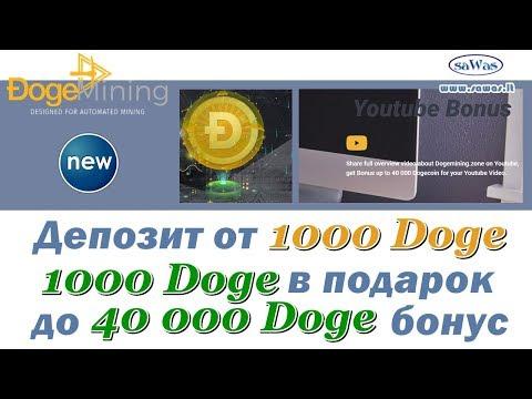 DogeMining - НОВИНКА: депозит от 1000 Doge+1000 в подарок+до 40 000 бонус. Обзор, 11 Августа 2019