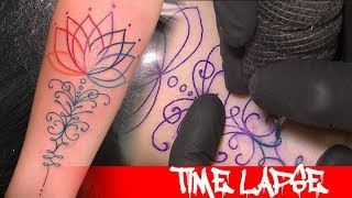 Rainbow Lotus   Tattoo Time Lapse