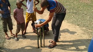 Primitive Technology:Village Boys Making Cricket Stumps By Cutting Bamboo From Rural Bamboo Forest
