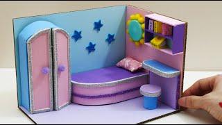DIY Miniature Cardboard House #3    Purple And Blue Bedroom Decor